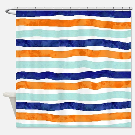 Cute Navy blue color Shower Curtain