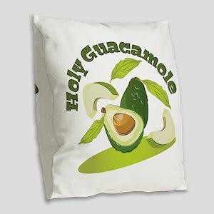 Holy Guacamole Burlap Throw Pillow