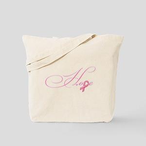 Hope - Pink Ribbon Breast Cancer Awarenes Tote Bag
