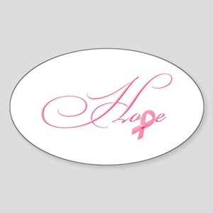 Hope - Pink Ribbon Breast Cancer Aw Sticker (Oval)