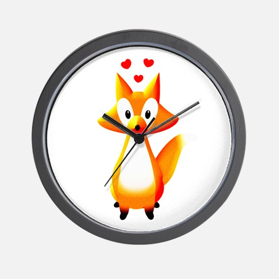 Cute Cartoon Fox Wall Clock