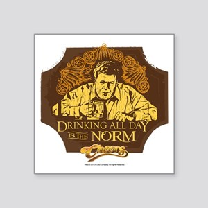 """Cheers: Norm Drinking Square Sticker 3"""" x 3"""""""