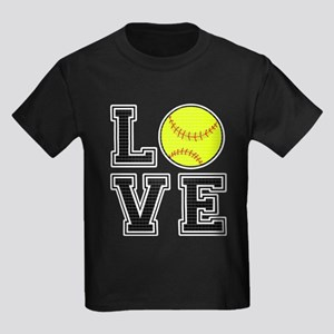 Love Softball Kids Dark T-Shirt