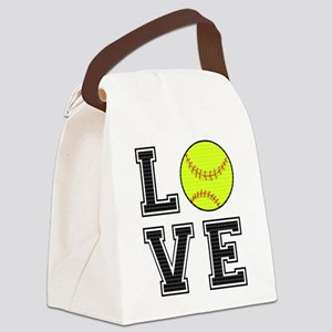 Love Softball Canvas Lunch Bag