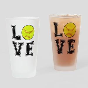 Love Softball Drinking Glass