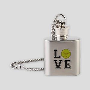 Love Softball Flask Necklace