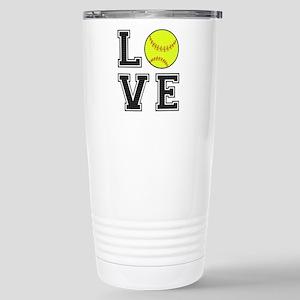 Love Softball Stainless Steel Travel Mug