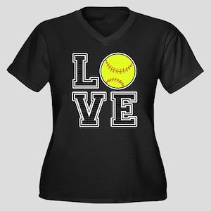 Love Softbal Women's Plus Size V-Neck Dark T-Shirt