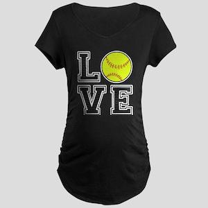 Love Softball Maternity Dark T-Shirt