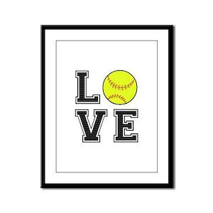 Love Softball Framed Panel Print