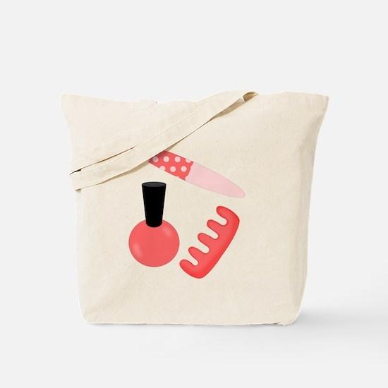 Pink Black Nail Polish Tote Bag