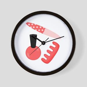 Pink Black Nail Polish Wall Clock