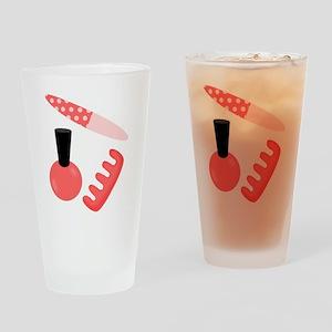Pink Black Nail Polish Drinking Glass