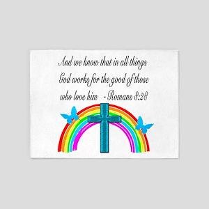 ROMANS 8:28 VERSE 5'x7'Area Rug