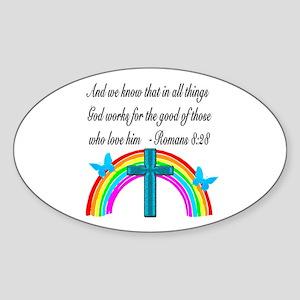 ROMANS 8:28 VERSE Sticker (Oval)