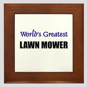 Worlds Greatest LAWN MOWER Framed Tile