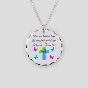 ROMANS 8:28 VERSE Necklace Circle Charm