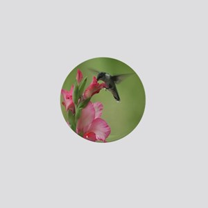 Hummingbird In Gladiolas (1 Mini Button (10 Pack)