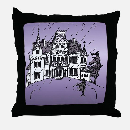 Haunted House Tall Purple Throw Pillow