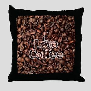 I Love Coffee, Coffee Beans Throw Pillow