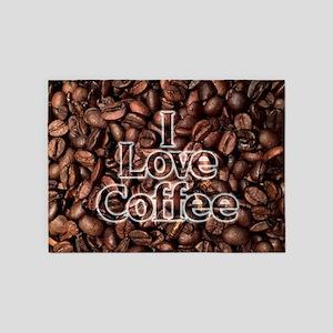 I Love Coffee, Coffee Beans 5'x7'Area Rug