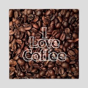 I Love Coffee, Coffee Beans Queen Duvet