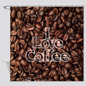 I Love Coffee, Coffee Beans Shower Curtain