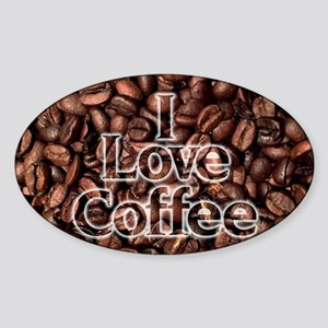 I Love Coffee, Coffee Beans Sticker (Oval)