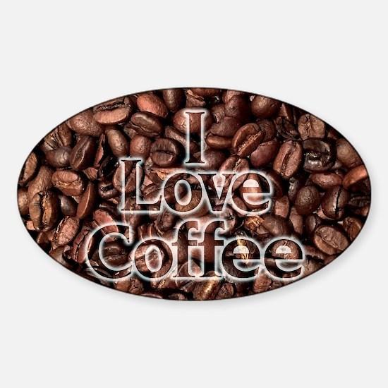 I Love Coffee, Coffee Beans Sticker (Oval)