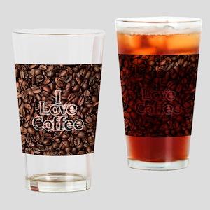 I Love Coffee, Coffee Beans Drinking Glass