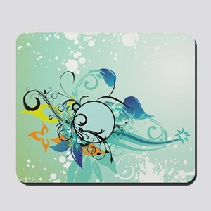 Tropical Flourishes on Mottled Light Gre Mousepad