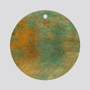 Abstract in Turquoise and Copper Round Ornament