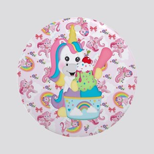 Unicorn Loves Ice Cream Round Ornament