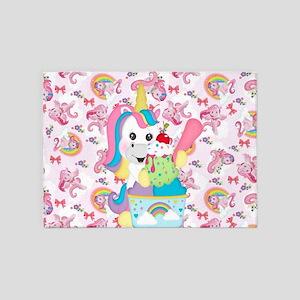 Unicorn Loves Ice Cream 5'x7'Area Rug