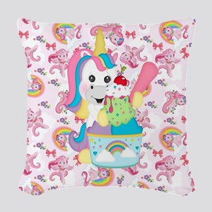 Unicorn Loves Ice Cream Woven Throw Pillow