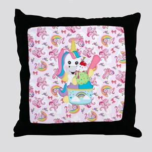 Unicorn Loves Ice Cream Throw Pillow
