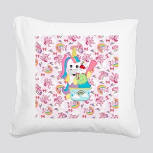 Unicorn Loves Ice Cream Square Canvas Pillow