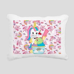 Unicorn Loves Ice Cream Rectangular Canvas Pillow