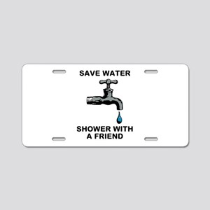 Shower With Friend Aluminum License Plate