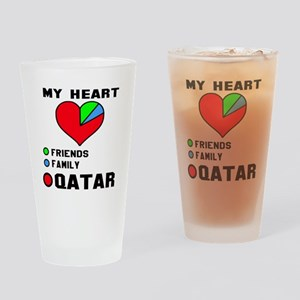 My Heart Friends, Family and Qatar Drinking Glass