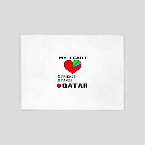 My Heart Friends, Family and Qatar 5'x7'Area Rug