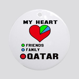 My Heart Friends, Family and Qatar Round Ornament