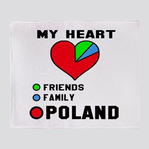 My Heart Friends, Family and Poland Throw Blanket