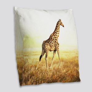 Giraffe Burlap Throw Pillow