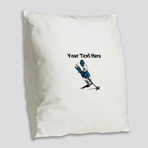 Hockey Player Burlap Throw Pillow