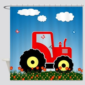 Red tractor Shower Curtain
