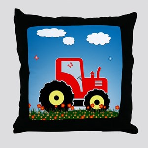 Red tractor Throw Pillow