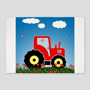 Red tractor in a field 5'x7'Area Rug