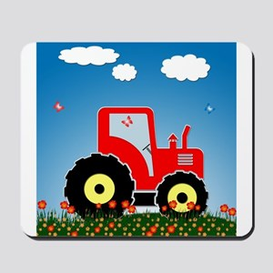 Red tractor in a field Mousepad