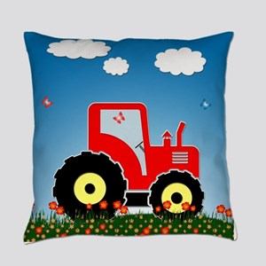 Red tractor in a field Everyday Pillow